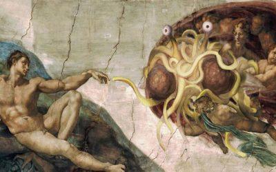 El  Pastafarismo, un símbolo de la lucha contra la enseñanza del diseño inteligente en los colegios públicos.