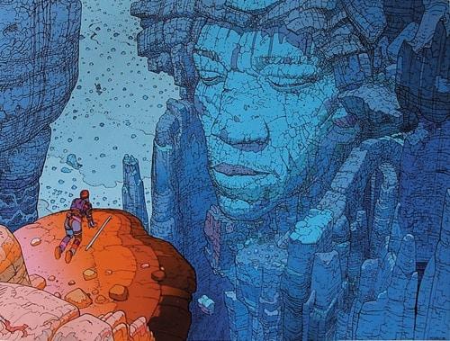 Jimi Hendrix el inmortal en el arte de Moebius.