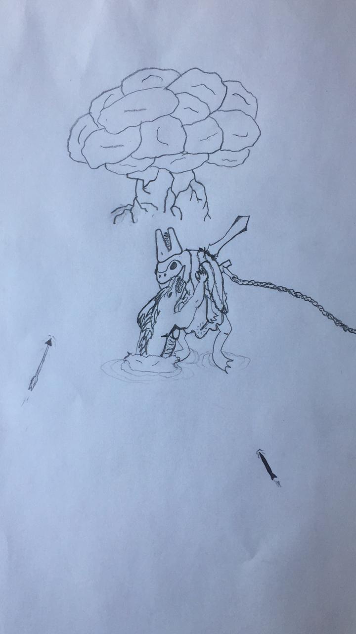 Dibujo hecho por Name de la batalla con el Chaman